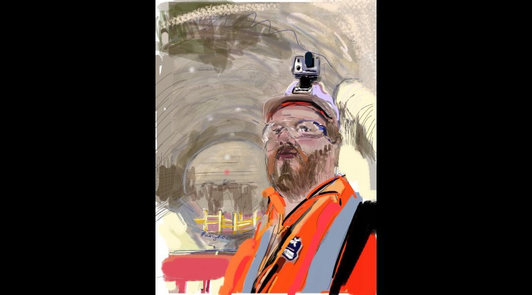 Final breakthrough at Farringdon station, Crossrail worker