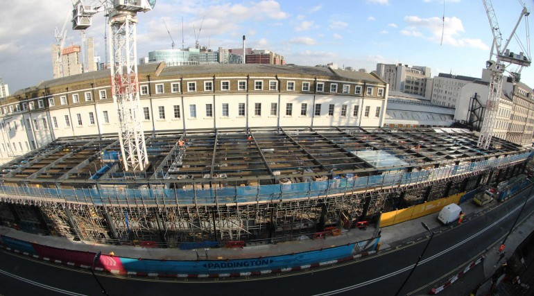 First panels of Spencer Finch_s artwork lifted into place in Paddington station canopy_293478