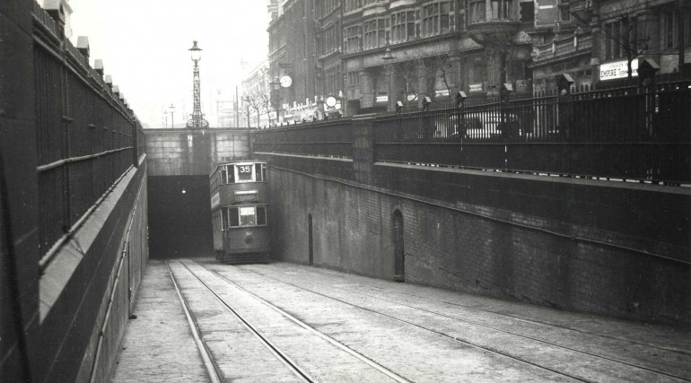 Holborn Tram Tunnel - double deck 1945-51 © TfL_35147
