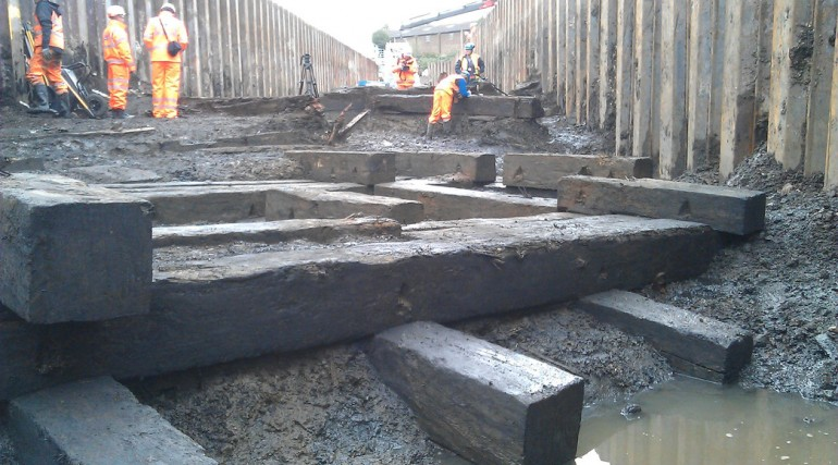 Thames Ironworks uncovered at Instone Wharf_136372
