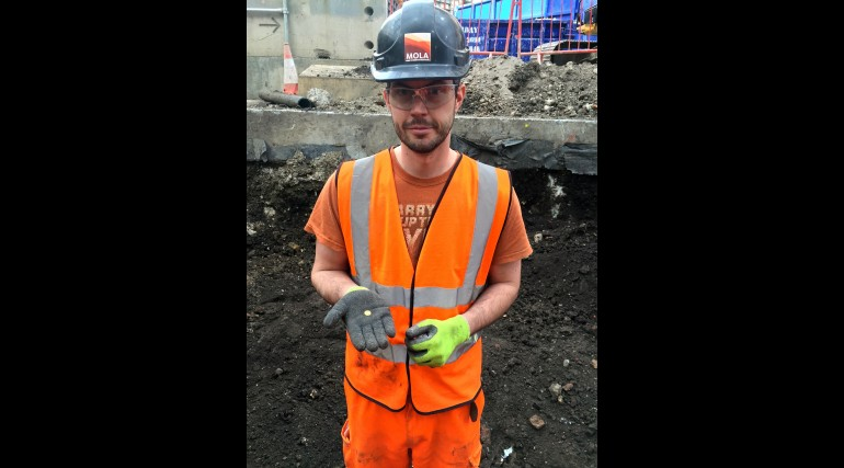 Gold coin found during excavation of Liverpool Street station, March 2015