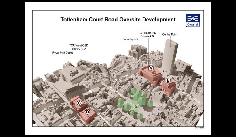 Tottenham Court Road - aerial map showing location of proposed over site developments