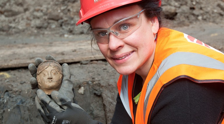 Part Roman figurative pottery  vessel uncovered at Crossrail Liverpool Street station ticket hall Ap