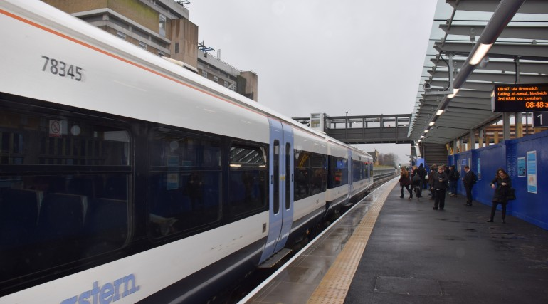 Passenger use new platform at Abbey Wood_227785