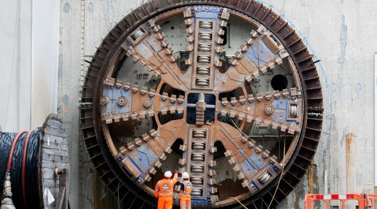 TBM Mary breaks through into Woolwich station box, September 2013_95693