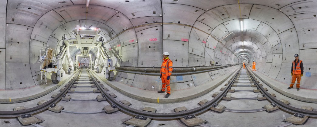 Panoramic views of Crossrail tunnel fit-out works