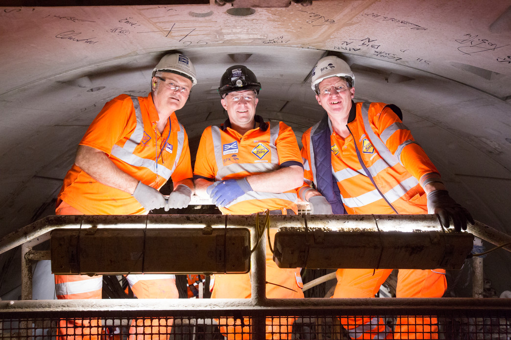 Steve Parker (left) with Ivor Thomas (right) on tunnelling machine Phyllis_104416