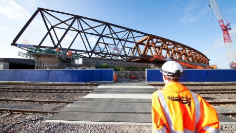 Thousand tonne rail flyover launched to improve connection to Heathrow