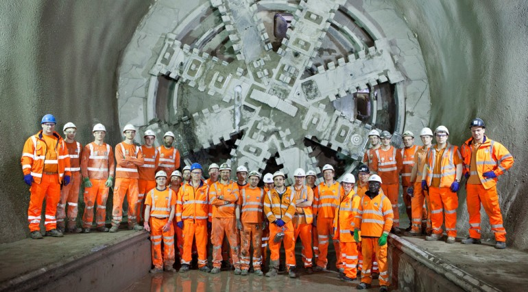 Tunnel gang celebrate as TBM Elizabeth breaks through into Whitechapel Station 20 Jan 2014_120760