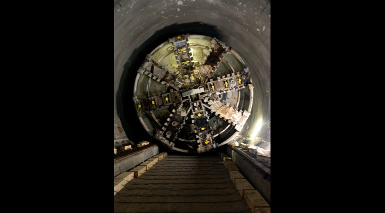 TBM Elizabeth transit through Whitechapel eastbound tunnel October 2014_161482