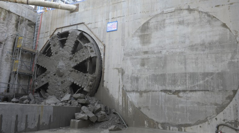 TBM Jessica breaks through into Victoria Dock Portal, August 2014_153137