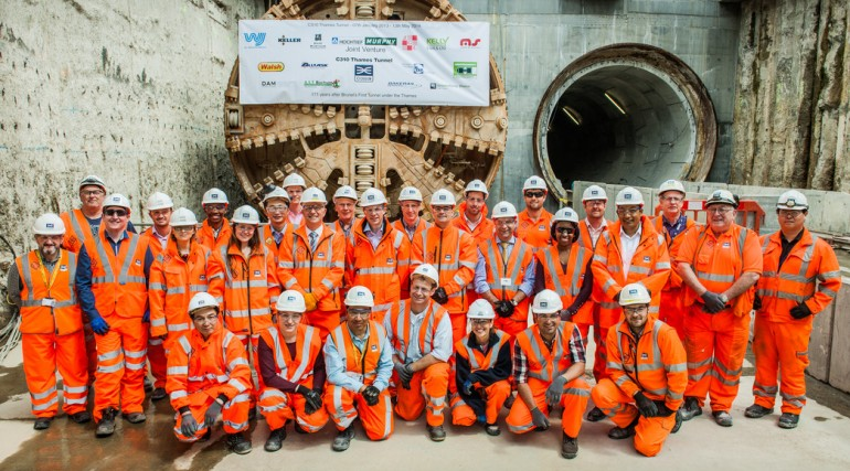 TBM Mary breaks through into North Woolwich Portal, May 2014_140803