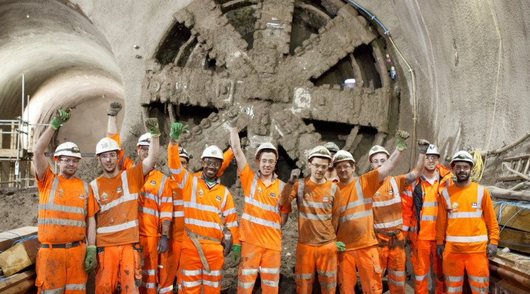 TBM Victoria breaks through into Stepney Green cavern, January 2014_121677