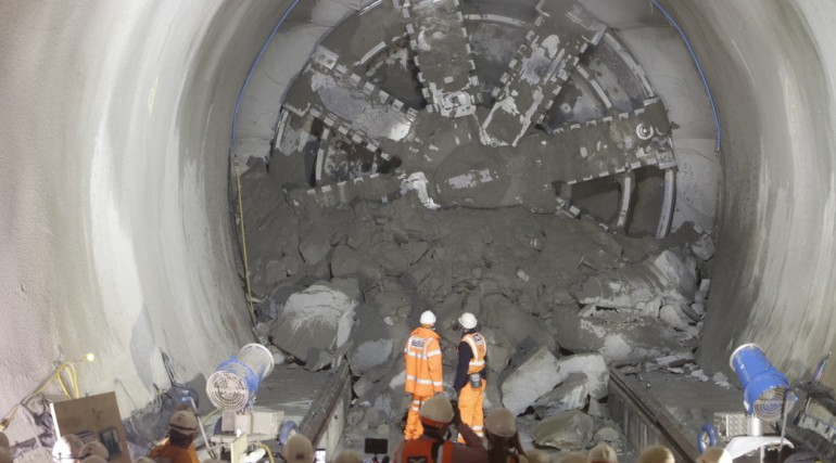 TBM Victoria breaks through into Whitechapel station, April 2014_134404
