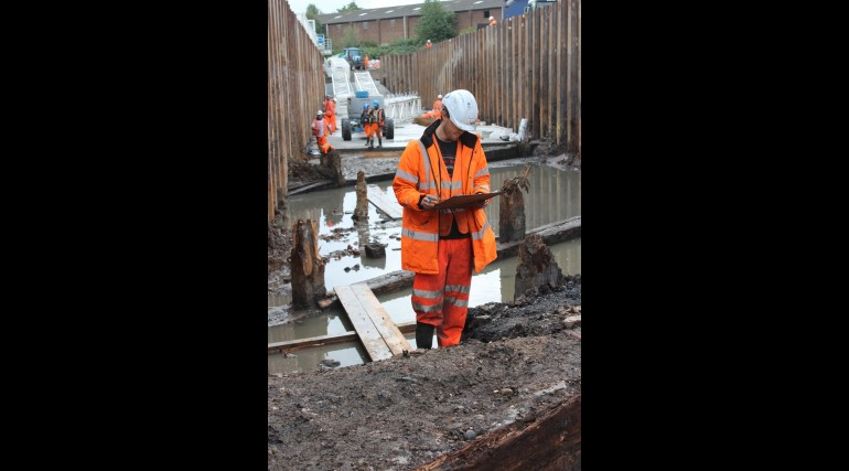 Thames Ironworks uncovered at Instone Wharf_48464