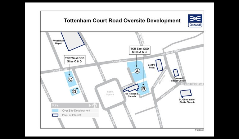 Tottenham Court Road - map showing location of proposed over site developments