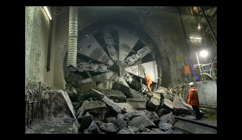 Tunnel boring machine - breakthrough