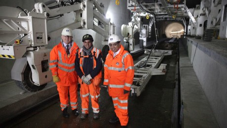 Transport Minister views permanent track installation progress in Crossrail tunnels