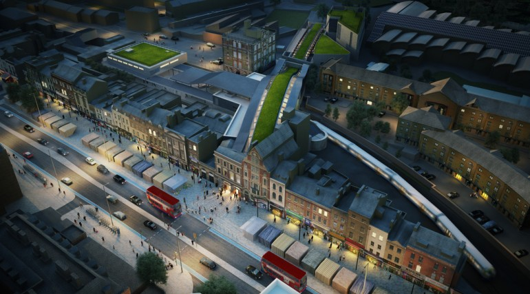 06 Whitechapel Station - aerial view of proposed urban realm at night_139047
