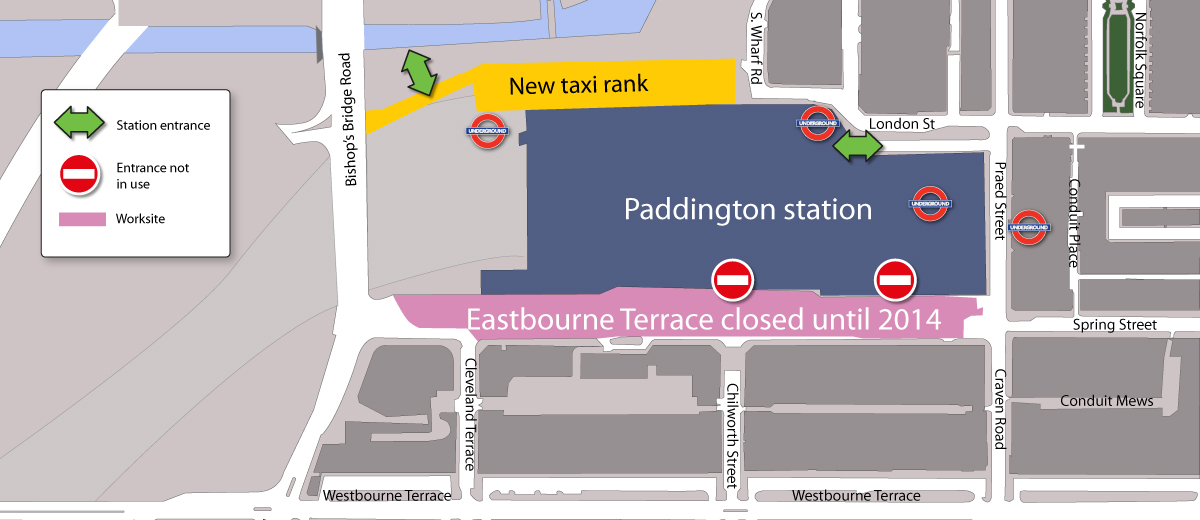 Paddington station map laminatoff for 50 eastbourne terrace london
